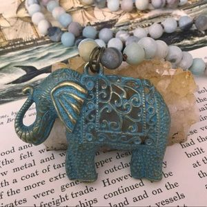 Boho Elephant Necklace Gypsy Boho Amazonite Mala